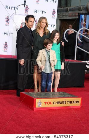 LOS ANGELES - DEC 3:  Quinlin  Stiller, Ben Stiller, Christine Taylor, Ella Olivia Stiller at the Ben Stiller Handprint and Footprint Ceremony at Dolby Theater on December 3, 2013 in Los Angeles, CA