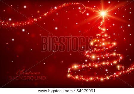 Magic Christmas Tree. Christmas background