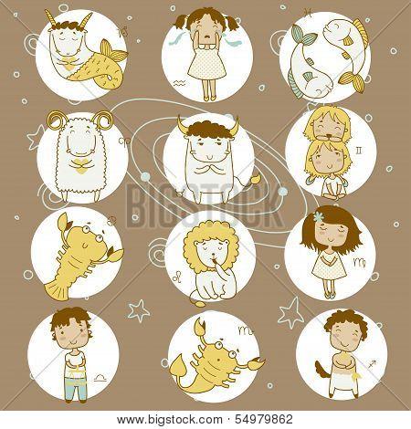 Basic Zodiac icon set. Rgb
