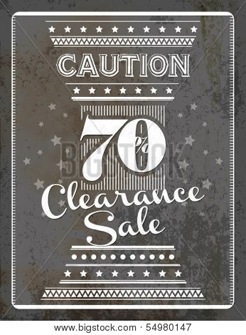 Vintage Retro Clearance Sale Typographic Background