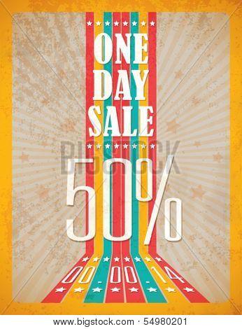 Vintage Retro One day Sale Typographic Background