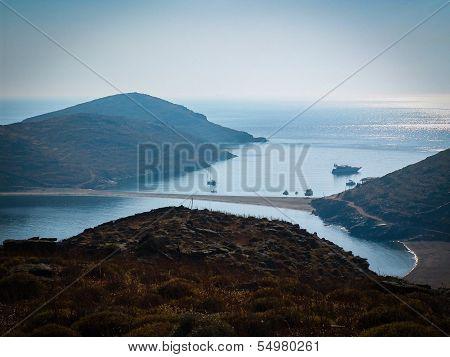 isthmus at the Greek island Kythnos. Aegean sea