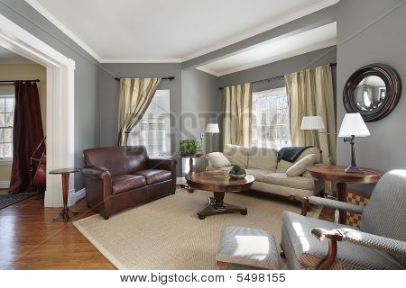 Living Room With Gray Walls Stock Photo & Stock Images | Bigstock