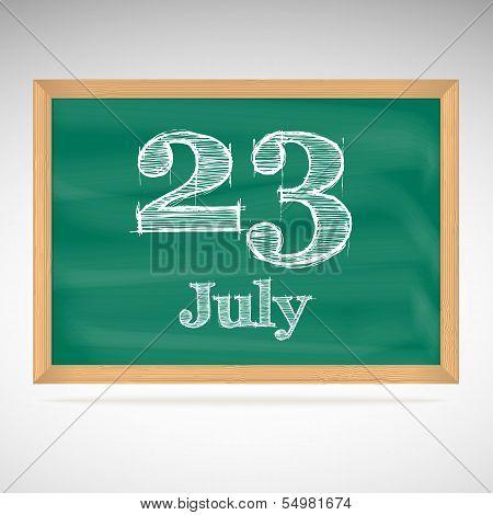 July 23, day calendar, school board, date
