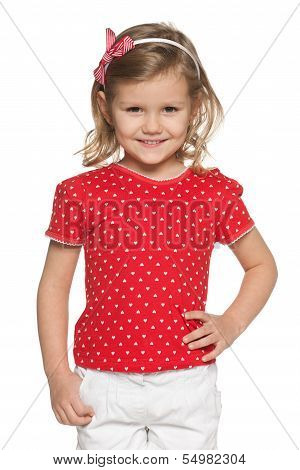 Llittle Girl In Red Shirt