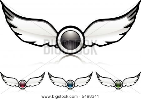 Wings With Lens Photo (vector)