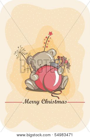 Christmas greeting card - Cute bear and red bulb