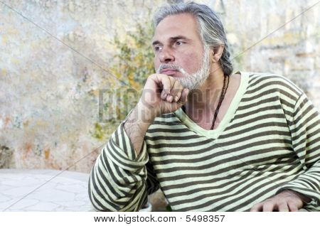 Mature Man Outdoors, Thinking