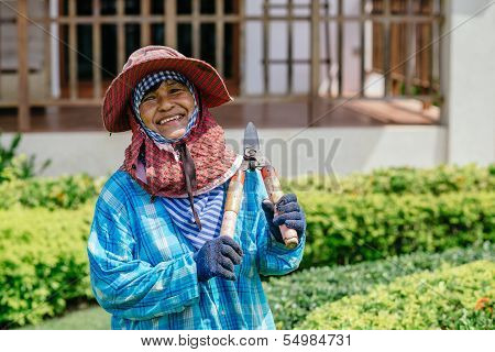 Female Thai gardener