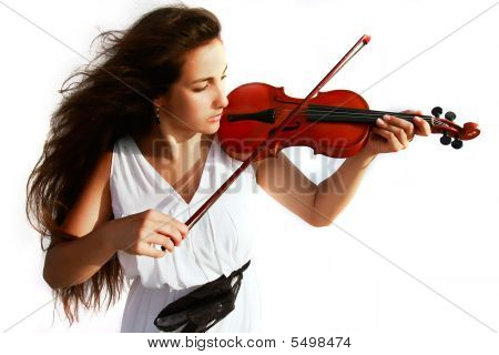 Attractive Girl Playing Violin Over White