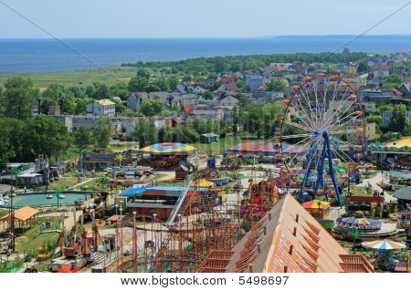 Aerial View At The Amusement Park And Sea In Wladyslawowo, Poland