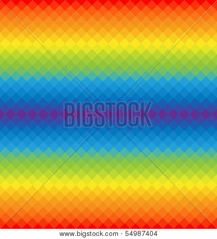 Rainbow Pattern Of Geometric Shapes. Colorful Mosaic Banner.