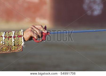 Bullfighter stabbing a bull decisive moment when the toreador kills the bull