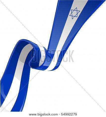 Israel Ribbon Flag Isolate On White