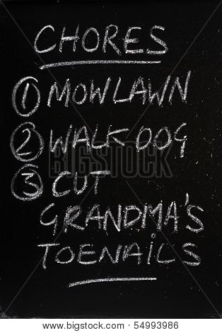 List of Chores on a Blackboard
