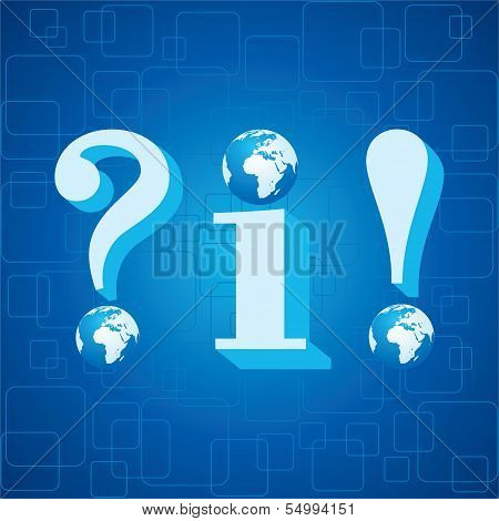 3d blue info,question mark and exclamatory mark icon with globe instead of dot