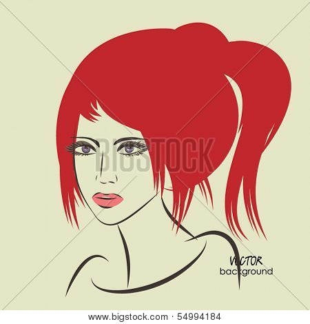 art sketched beautiful girl face with ponytail hairstyle, in vector