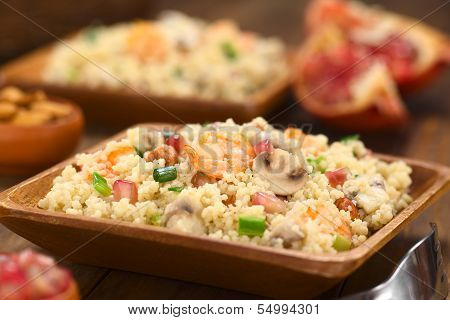 Couscous with Shrimp, Mushroom, Almond and Pomegranate