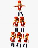 stock photo of nutcracker  - Toy Soldiers from the Nutcracker Ballet making a pyramid of a white background - JPG