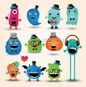 foto of freaky  - Vector Freaky Hipster Monsters Set Funny Illustration - JPG