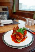 pic of chinese wok  - Wok fried shrimps with sweet sauce and coriander leaves - JPG