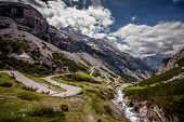 stock photo of italian alps  - A view of the famous italian road Stelvio Pass or Passo dello Stelvio - JPG