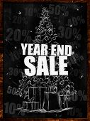 stock photo of year end sale  - Year end sale on blackboard  - JPG