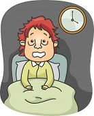 stock photo of puffy  - Illustration of a Man with Puffy Eye bags Sitting on His Bed Wide Awake - JPG
