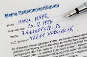a living will in german language. instructions for the doctor or hospital in the event of a terminal