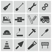 image of power-shovel  - Vector black  construction icons set on white background - JPG