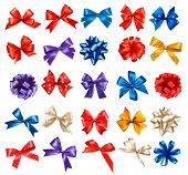 image of bowing  - Big set of colorful gift bows with ribbons - JPG