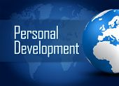 stock photo of self assessment  - Personal Development concept with globe on blue background - JPG