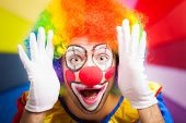stock photo of circus clown  - Clown making a funny face - JPG