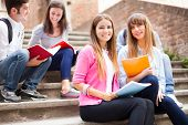 pic of staircases  - Portrait of smiling students - JPG