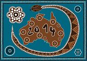 stock photo of aborigines  - A illustration based on aboriginal style of dot painting depicting 2014 Happy New Year  - JPG