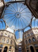 stock photo of cornerstone  - Umberto I gallery in the city of Naples italy - JPG