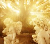 pic of garden sculpture  - Fantastical portrait of angelic cherub statues with rays of golden light - JPG
