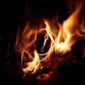 stock photo of hollow log  - A camp fire burns inside a hollow log - JPG