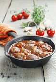 image of meatballs  - Meatballs with tomato sauce in a pan - JPG