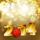 stock photo of yule  - Happy New Year 2014 with golden text and Christmas ball in red color on shiny abstract background - JPG