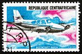 Postage Stamp Central African Republic 1967 Beechcraft Baron, Airplane