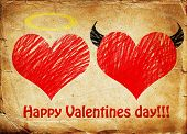 stock photo of good-vs-evil  - Valentines day background wih two hearts  - JPG