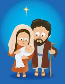 stock photo of clip-art staff  - Illustration of Mary holding baby Jesus with Joseph - JPG