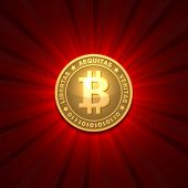 foto of bitcoin  - Bitcoin money on red background - JPG