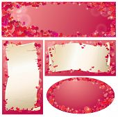 Set Of Valentine`s Day Horizontal, Vertical, Oval Banners With Red Hearts Confetti And Old Paper Scr