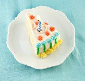 pic of birthday-cake  - Slice of decorated cake with a lit candle for a celebration - JPG