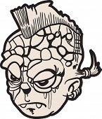 cartoon illustration of angry punk face with mohawk