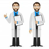 pic of physicist  - Illustration scientist holds file - JPG