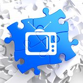 stock photo of televisor  - TV Set Icon on Blue Puzzle - JPG