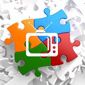 picture of televisor  - TV Set Icon on Multicolor Puzzle - JPG